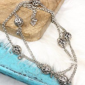 Brighton Crystal Ball Silver Pl Long Necklace
